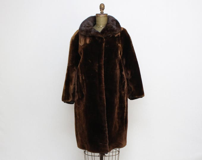 Vintage 1960s Mink Trimmed Dark Brown Fur Coat - Size Medium