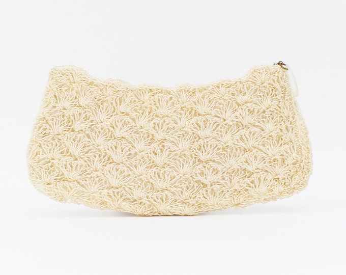 Cream Crochet Bridal Clutch - Vintage 1950s Artel Mfg Co Montreal Beaded Evening Bag