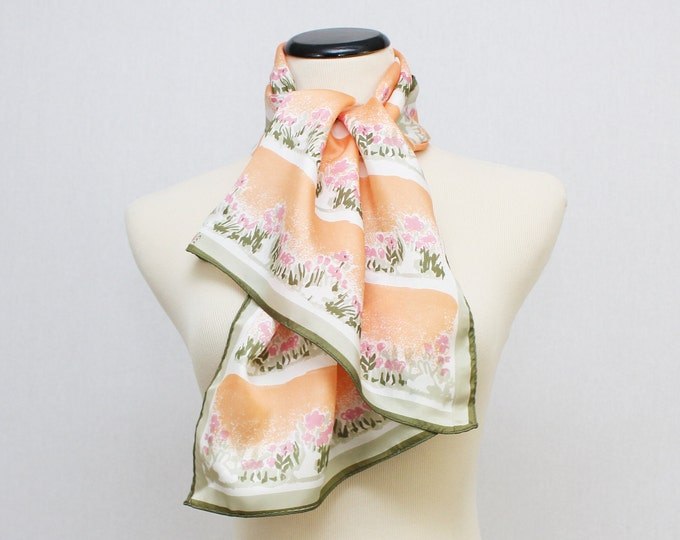 Floral Print Vera Scarf - Coral and Olive 60s Vera Neumann Scarf - Vintage 1960s Oblong Scarf