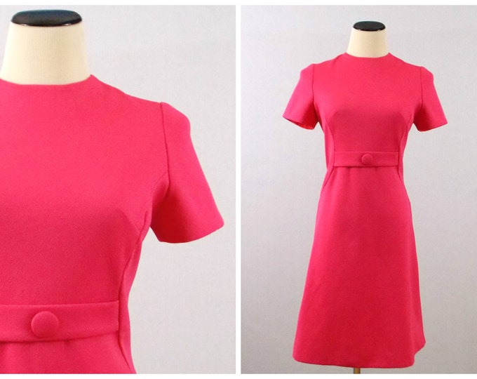 Vintage 1980s Hot Pink Sheath Dress - Size Medium