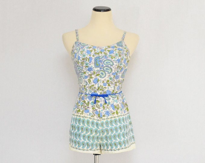 Vintage 1950s Cole of California Paisley Swimsuit and Beach Skirt - Size Extra Small
