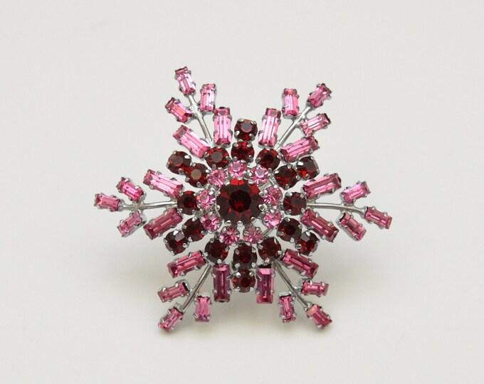 Vintage Pink Snowflake Brooch - 1960s