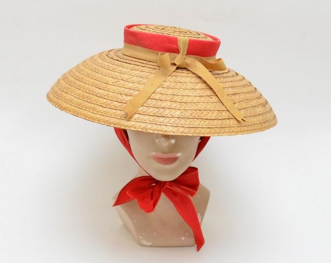 Vintage Straw Mushroom Hat - 1950s
