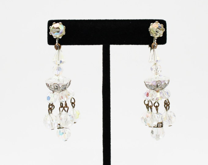 Crystal Chandelier Earrings - Vintage 1950s Aurora Borealis Clear Faceted Bead Earrings