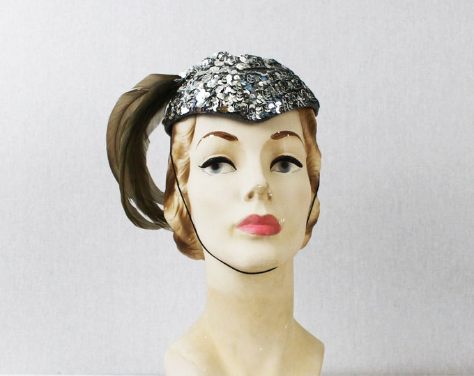 Silver Feather Fascinator Hat - Sequinned Show Girls Hat - Vintage 1960s Embellished Sequin Cocktail Hat
