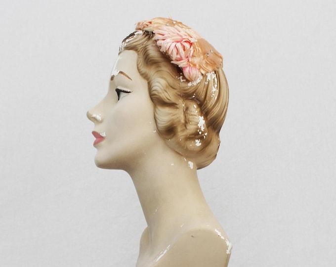50s Peach Casque Hat - Vintage 1950s Pink Rhonestone Floral Fascinator Hat