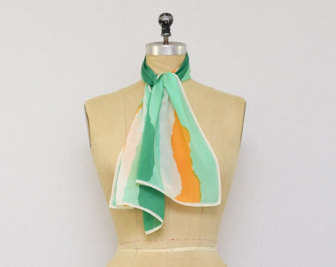 Vintage 1970s Sheer Abstract Vera Neumann Silk Scarf
