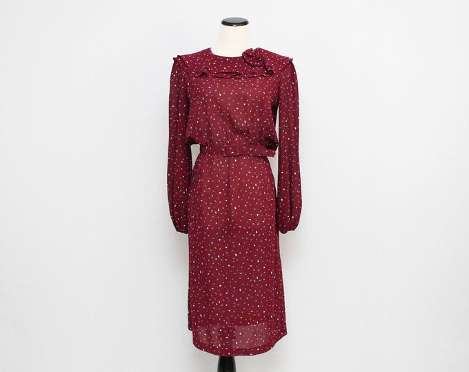 Vintage 1970s Burgundy Novelty Print Dress - Size Medium