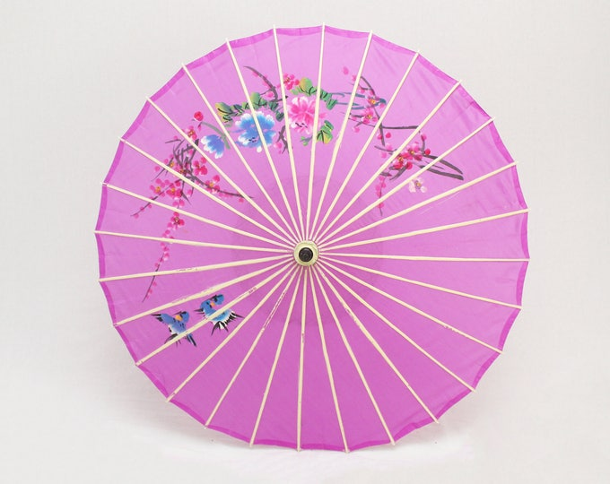 Vintage 1960s Purple Floral Novelty Parasol