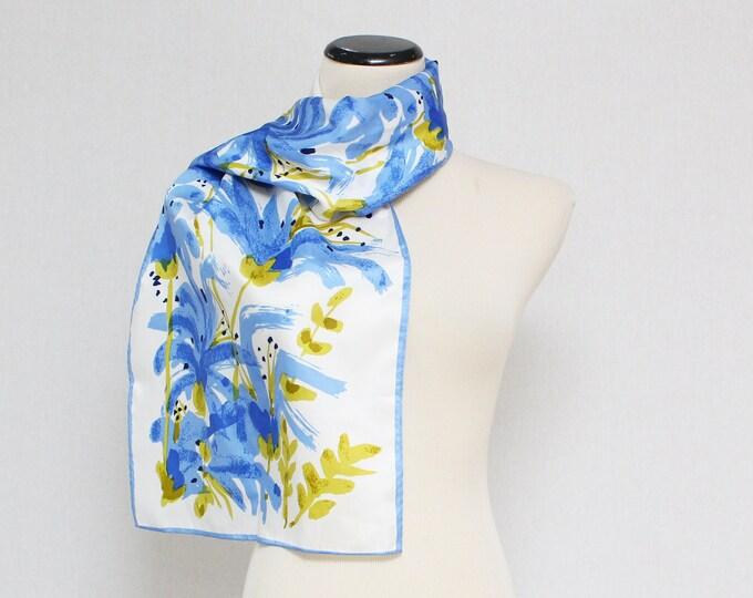 Vintage 1970s Blue Floral Vera Neumann Scarf