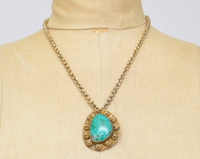 Antique Turquoise Convertible Pendant Brooch