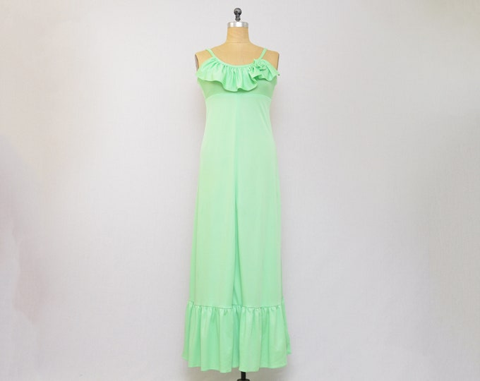 Vintage Light Green Ruffle Maxi Dress - Size Small