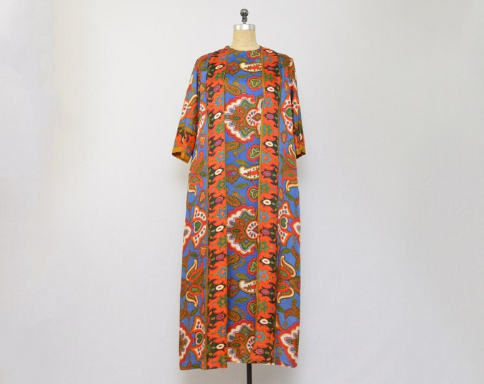 Vintage 1970s Paisley Print Kaftan Dress - Size Medium