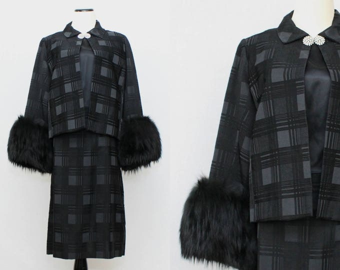 50s Little Black Dress - Two Piece Cocktail Dress and Jacket - Vintage 1950s Monochrome Black Plaid Silk Dress and Fur Trimmed Coat