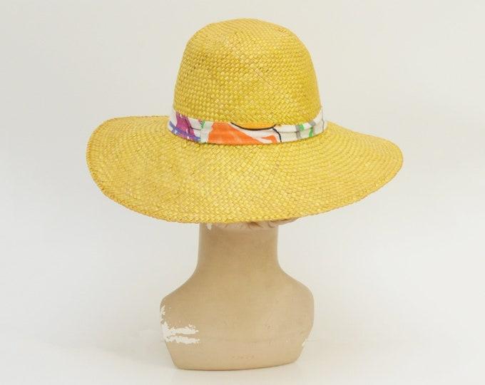 Vintage 1980s Wide Brim Straw Hat