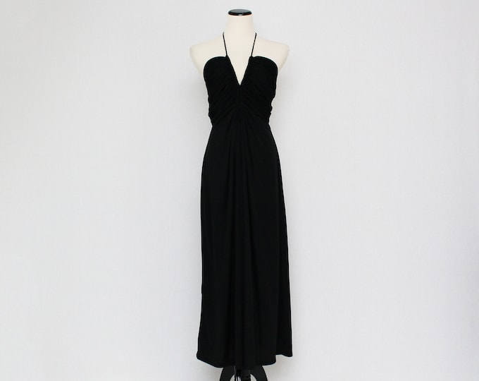 Vintage 1970s Black Plunging Neckline Halter Dress by Joy Stevens - Size Small