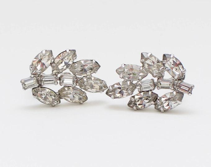 Vintage 1960s B David Clear Rhinestone Clip Earrings