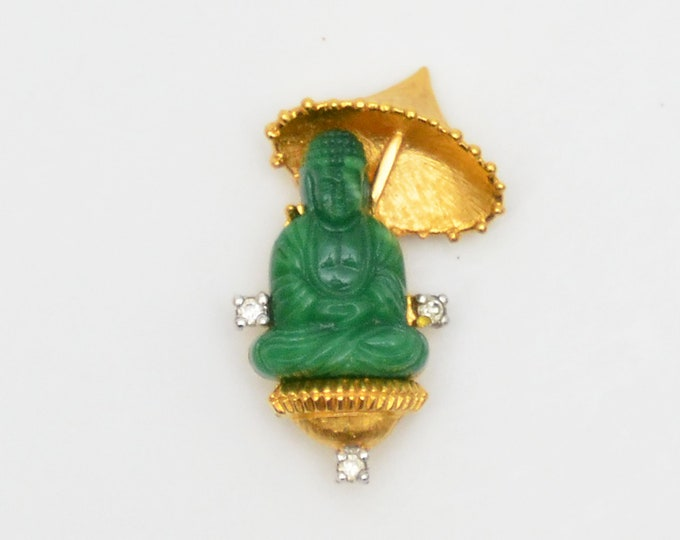 Vintage Faux Jade Buddha Brooch