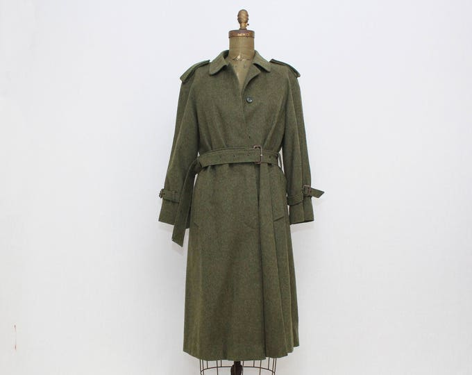 Vintage 1980s Military Green Loden Trench Coat - Size 8