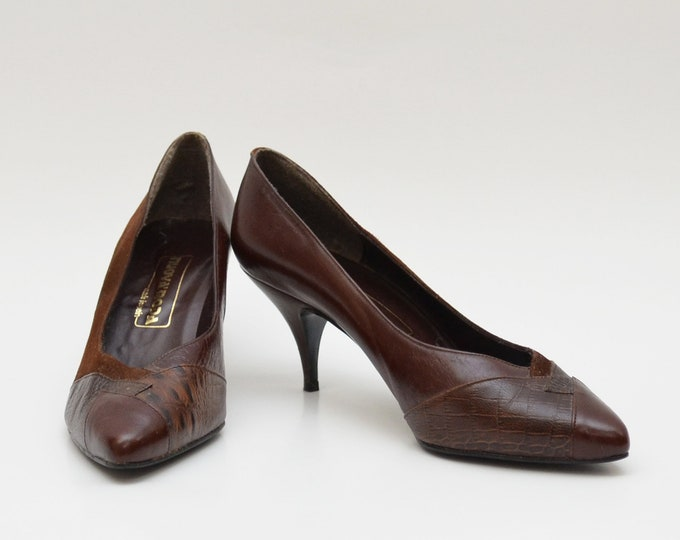 Vintage 1980s Brown Almond Toe Leather Heels - Size 7 - Made in Spain