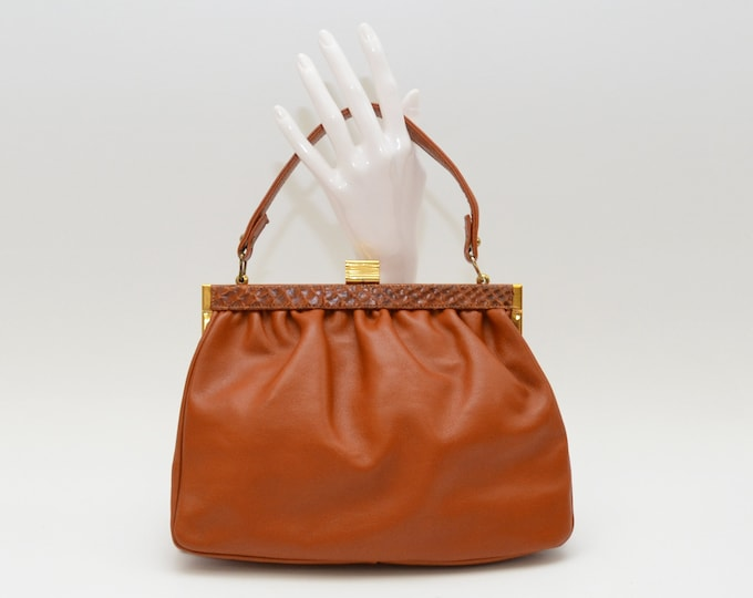 Vintage 1950s Caramel Leather Handbag