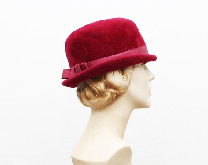 Fuchsia Velour Fedora - Vintage 1960s Women's Short Brim Hat