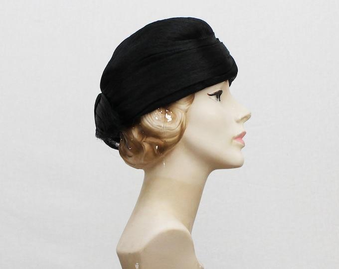 40s Black Turban Hat - Vintage Woven Horsehair Women's Hat
