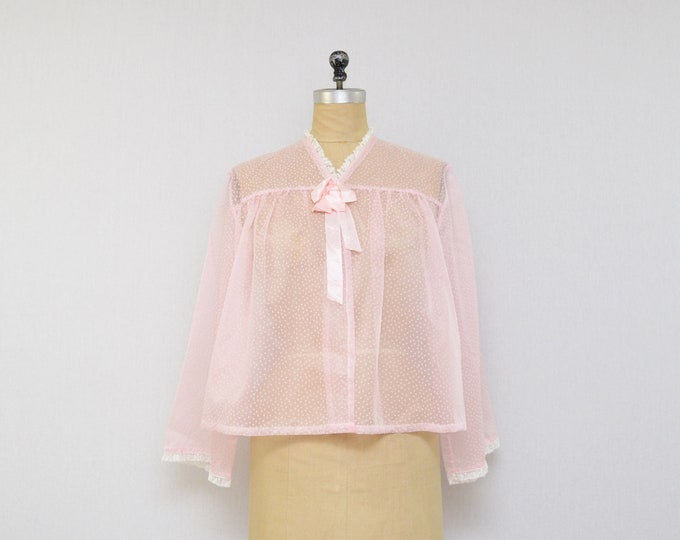Vintage Pink Swiss Dot Night Shirt - Size Vintage 1950s Sheer Cover Up