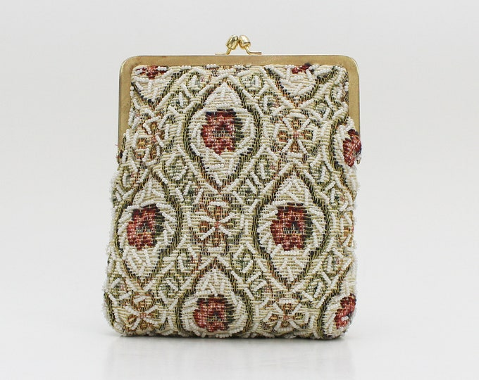 Beaded Floral Tapestry Clutch - Vintage 1950s Le Jule Evening Bag