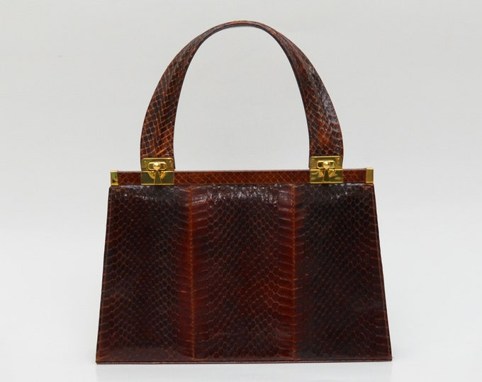 Vintage Burgundy Reptile Skin Handbag - 1950s