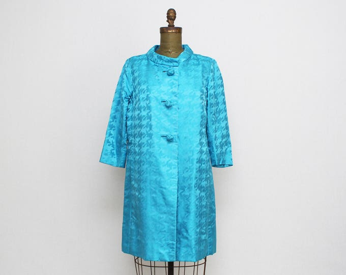Vintage 1960s Mod Turquoise Silk Swing Coat - Size Medium
