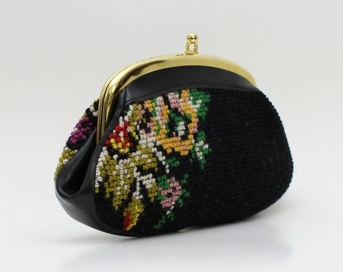 Vintage 1950s Black Floral Needlepoint Clutch