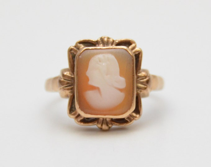 Antique 10k Gold Cameo Ring - Size 4.5