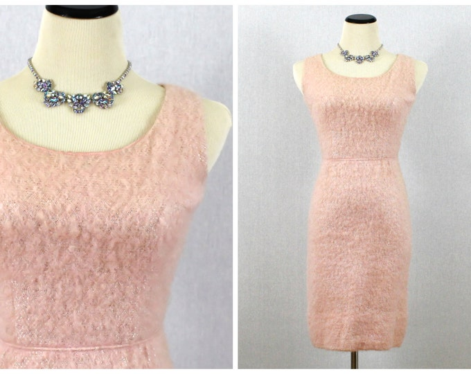 Pink Wiggle Dress - 50s Fuzzy Pink Cocktail Dress - Vintage 1950s Short Pink Dress by Jonathan Logan