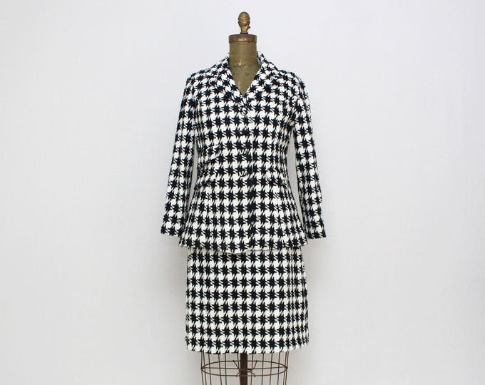 Vintage 1960s Houndstooth Skirt Suit - Size Small
