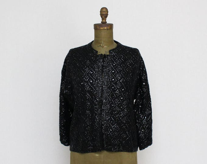 Vintage 1980s Black Beaded Cardigan - Size Large
