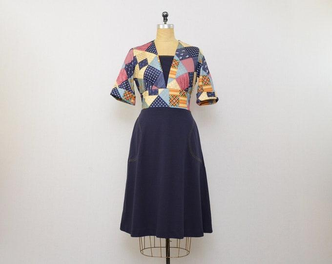 Vintage Patchwork Dress - Size Large - 1960s