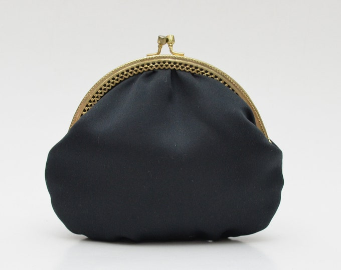 Vintage Black Kiss Lock Evening Bag - 1960s