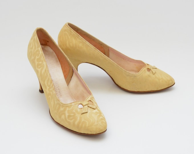 Vintage 50s Gold High Heel Shoes by FentonLast - Size 5