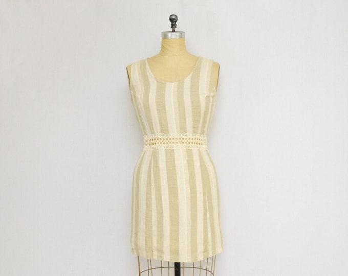 Vintage 1980s Beige Striped Linen Mini Dress - Size Small