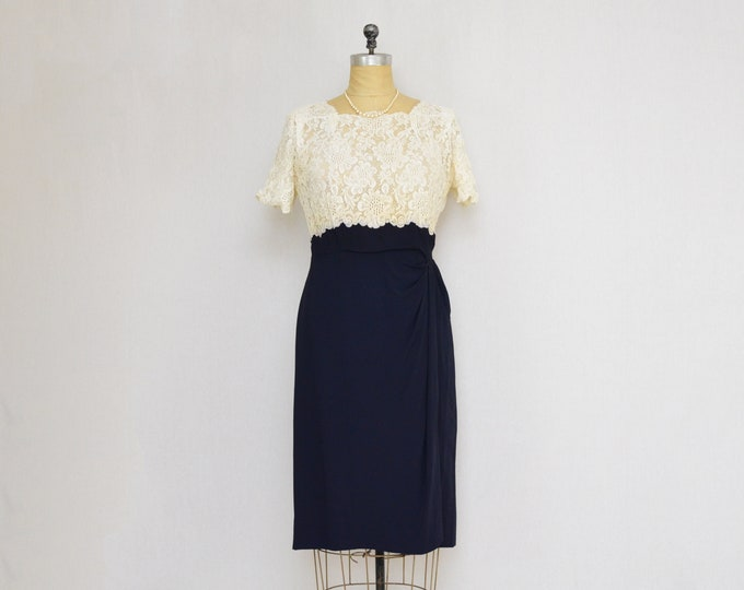 Vintage 1940s Lace Cocktail Dress - Size Medium