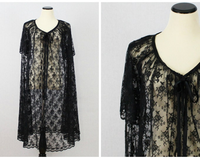 Black Lace Robe - Short Sleeve Black Night Robe - Vintage 1980s Long Flowing Lace Night Jacket