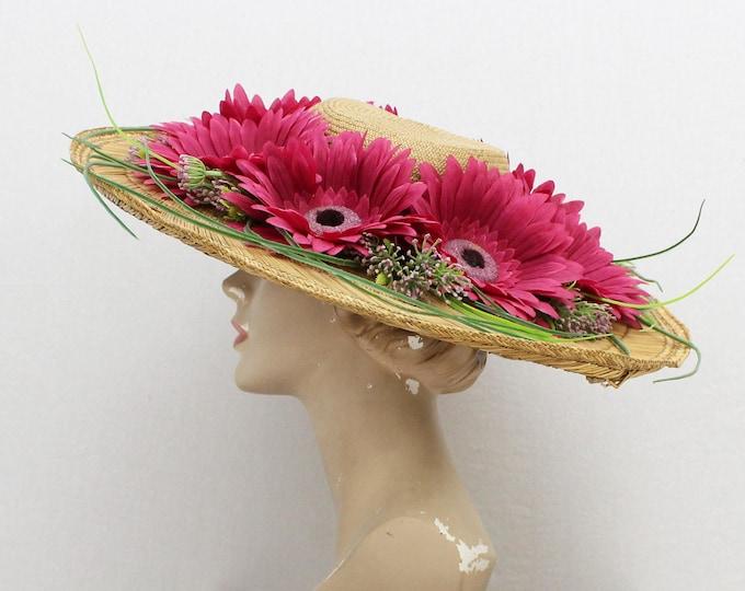 Vintage 1970s Wide Brim Flower Hat