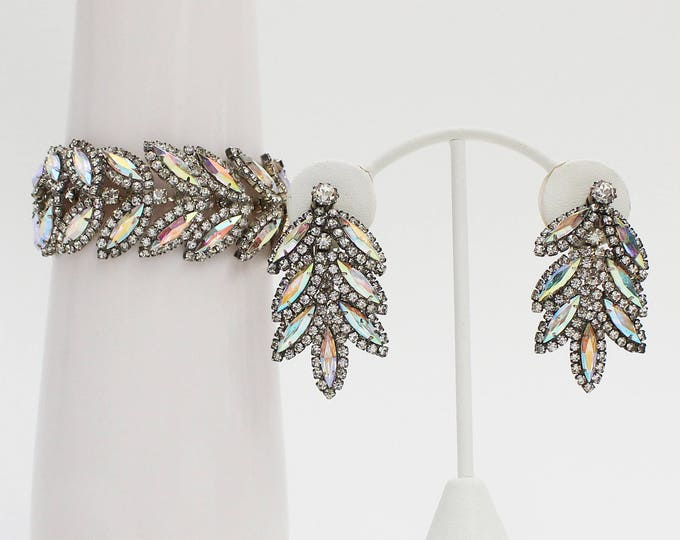 Rhinestone Bracelet and Earrings - Vintage 1970s Wedding Jewelry