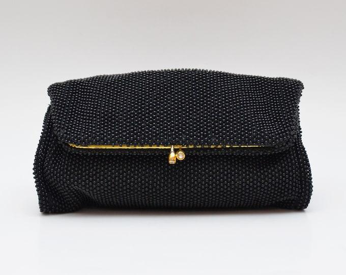Vintage 1960s Black Beaded Fold-Over Clutch