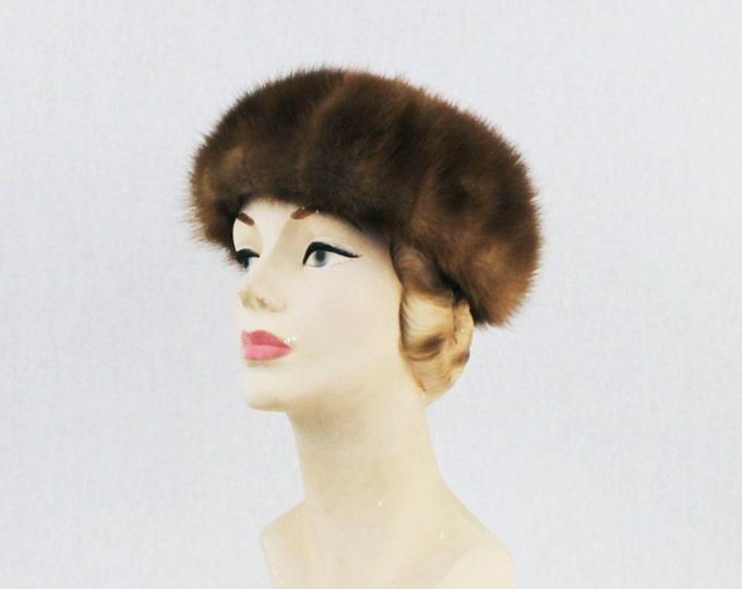 Brown Mink Hat - Fur Hat - Vintage 1960s Mink Fur Womens Hat