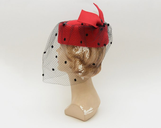 Vintage 1980s Red Birdcage Hat by Philip Somerville