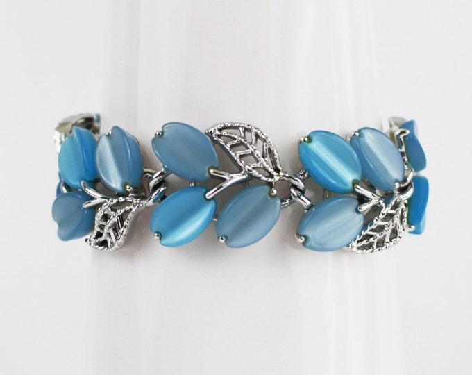Lisner Thermoset Bracelet - Blue Leaf Thermoset Bracelet - Vintage 1960s Silver and Blue Bracelet
