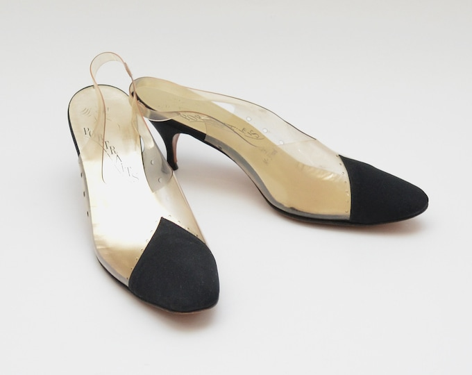 Vintage 1960s Black Diamond Toe Pumps - Size 7