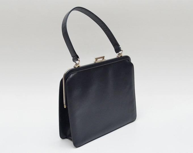 Vintage Navy Leather Handbag - 1950s